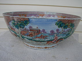 CIRCA 1770 CHINESE EXPORT FOX HUNT PUNCH BOWL 16