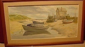 OIL ON BOARD OF MAINE SCENE OF BEACHED DORIES MAINE