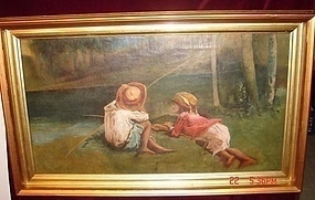 OIL ON CANVAS OF BOY AND GIRL FISHING