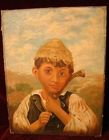 19TH CENTURY OIL ON CANVAS  CHILD IN PRIMITIVE SETTING