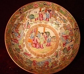 C. 1820 CHINESE EXPORT ROSE MANDARIN BOWL 9 1/4""