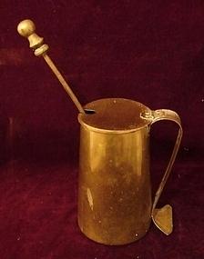 C. 1890 ANTIQUE BRASS POT WITH KEROSENE LIGHTER