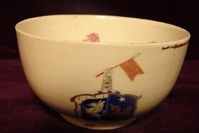 C. 1780 CHINESE EXPORT ARMORIAL CUP WITH FLAG
