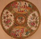 """C. 1840 CHINESE EXPORT ROSE MEDALLION PLATE 9 3/4"""""""