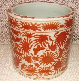 C. 1840 CHINESE EXPORT SACRED BIRD AND BUTTERFLY  POT