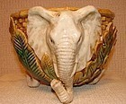 C.1900 MAJOLICA PLANTER WITH ELEPHANT MOTIF