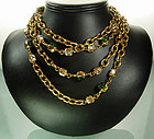 Signed Chanel 70 in Green Gripoix Glass Strass Necklace