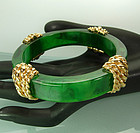 1967 Carven France Goldtone Metal Green Bakelite Bangle