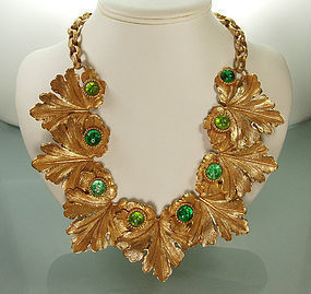 1980s Dominique Aurientis Necklace: Green Gripoix Glass