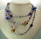 C 1950 French Violet Blue Glass Long Sautoir Necklace