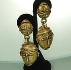 1970s Jay Feinberg Tribal Style Ashanti Mask Earrings