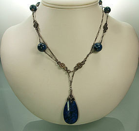 1910 Deco Blue Chalcedony 800 Silver Sautoir Necklace