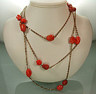 50s French Sautoir Faux Coral Poured Glass Beads 60 In.