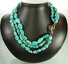 Chunky Turquoise Free Form Bead Necklace Vermeil Clasp