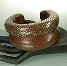 Signed Patricia Von Musulin Wood Inlaid Silver Bracelet