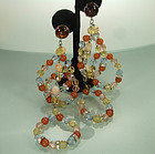 Spectacular 80s French Wired Glass Strass Long Earrings