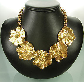 Huge Heavy Yves Saint Laurent YSL Flower Form Necklace