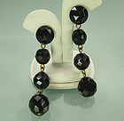 60s Glam 3 Inch Long Black Wired Glass Earrings: FRANCE