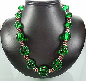 C 1940 French Gripoix Strass Necklace Huge Green Beads