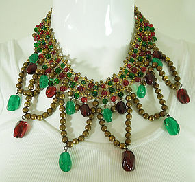Fabulous Unsigned Chanel Red Green Gripoix Necklace
