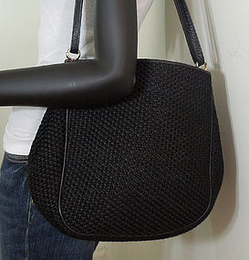 Bottega Veneta Nero Leather Straw Large Shoulder Bag