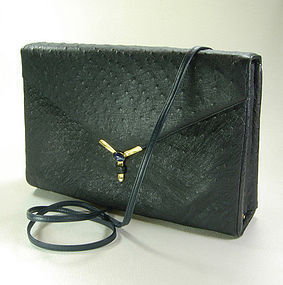 70s Judith Leiber Navy Blue Ostrich Bag Jeweled Clasp