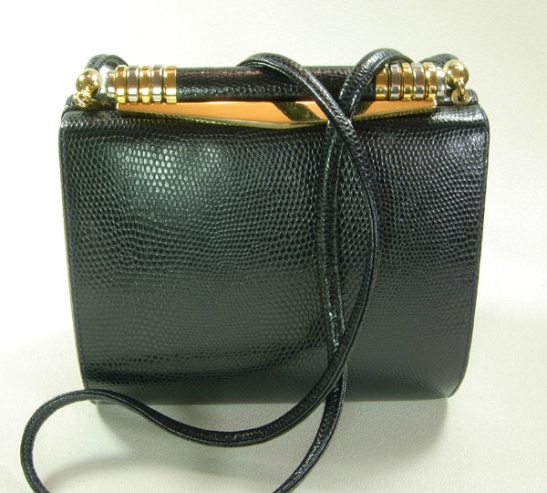 80s Rodo Italy Navy Lizardskin Box Clutch Shoulder Bag