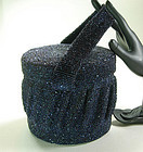 1940s Large Iridescent Blue Glass Micro Bead Box Bag