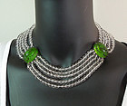 1930s Green Glass Paste Scarabs Rock Crystal Necklace