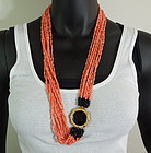 1970s Angel Skin Coral Onyx 9 Strand 30 Inch Necklace
