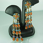 Chinese Export Silver Gilt Enamel Carnelian Earrings