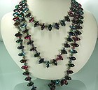 1970 Unsigned Schreiner Multi Rhinestone Necklace 64 In