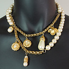 70s Givenchy Pearls 6 Charms Diamante 36 Inch Necklace