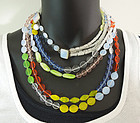 Huge 1980s Couture Opaline Yellow Blue Glass Necklace