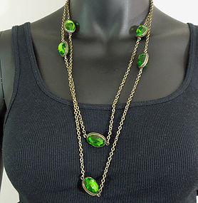 Early Vintage Sautoir Big Green Bezel Glass Stones 55""
