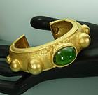 80s Deanna Hamro Green Gripoix Glass Barbaric Bracelet