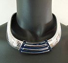 70s Monet Huge Gaspipe Snake Enamel Modernist Necklace