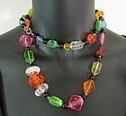 60s French Mod Jewel Tone Lucite Beaded Necklace