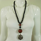 Pellini Italy Black Glass Faux Amber Huge Drop Necklace