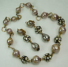 1970 French Ivory Glass Pearl Strass Necklace Earrings