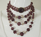 1970s French 3 Tier Purple Glass Wired Necklace