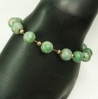 Antique 1920s 9mm Jade Bead Chain Strung Bracelet