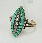 Antique 14K Gold Turquoise Diamond Ring French Marks