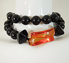 80s Modern Italian Black Lacquer Amber Lucite Necklace