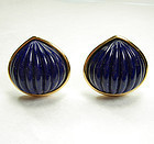 1980s Yves Saint Laurent Lapis Poured Glass Earrings