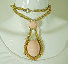 1960s Runway Size Faux Angel Skin Coral Big Necklace