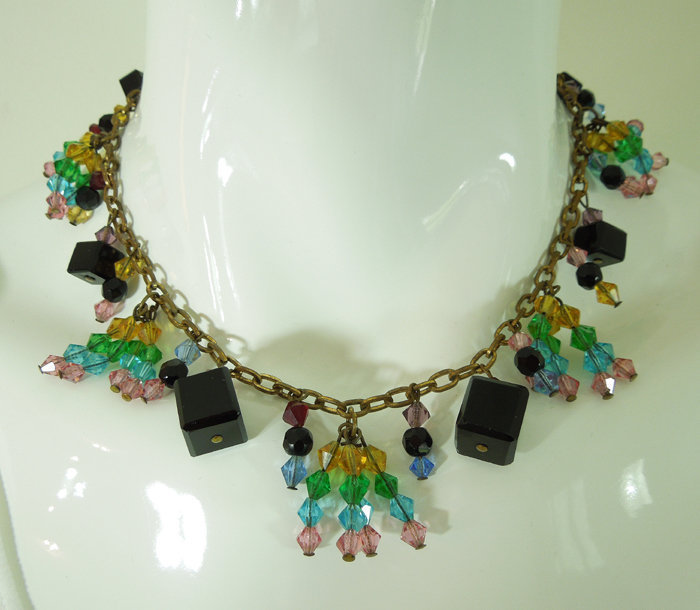 30s Art Deco Wired Glass Bib Necklace Pink Green Yellow