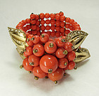 Unsigned Miriam Haskell Bracelet Book Piece Coral Glass