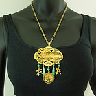 1970s Kenneth Lane Chinese Dragon Necklace Jade Glass