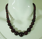 1930s Cherry Amber Graduated Bead Necklace 27 Grams